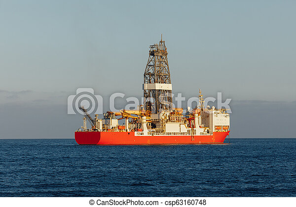 offshore oil and gas drillship in the open sea - csp63160748
