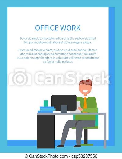 Oficina, cartel, trabajo, ilustración, brillante, vector. Azul ...