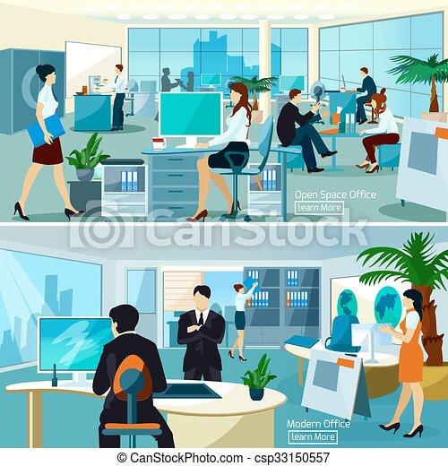Composición de oficina con gente trabajadora - csp33150557