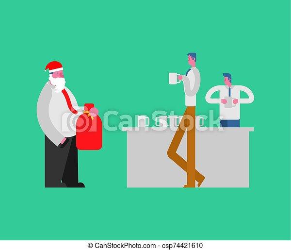 oficina, da, corporate., jefe, fiesta., santa, managers., regalos, navidad, año nuevo - csp74421610