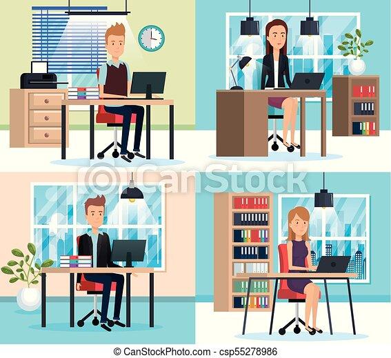 Gente trabajando en la oficina - csp55278986