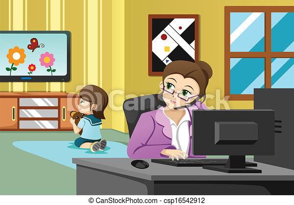 Madre trabajando en la oficina - csp16542912
