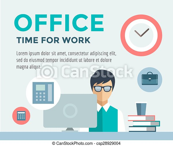 Empleado de información del trabajo. Oficina, mesa, diseñador y ordenador. Ilustración de acciones de Vector para el diseño. - csp28929004
