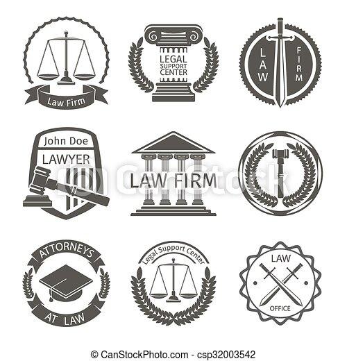 Logo de la oficina de abogados, marca emblemas vector fijado - csp32003542