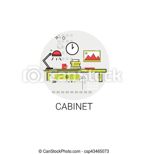 El icono de la oficina de trabajo del gabinete - csp43465073