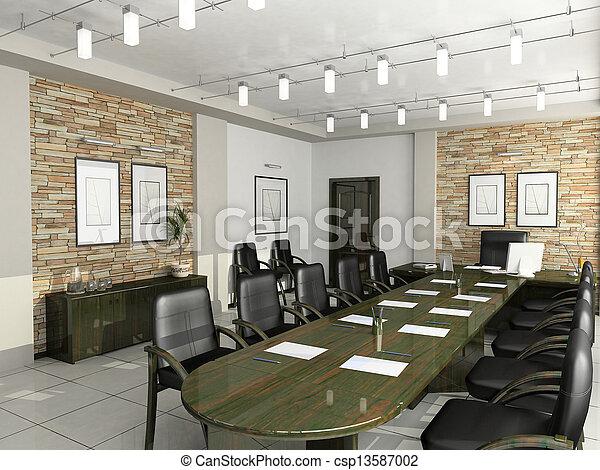 oficina, gabinete, director, interior, muebles, negociaciones, 3d - csp13587002