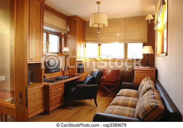 Interior de una sala de estar y oficinas en casa - csp3389679