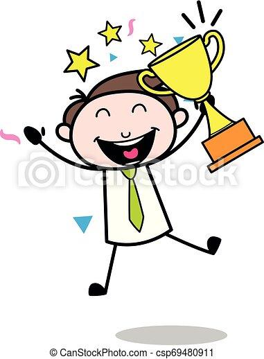 Premio al empleado del mes: Ilustración de vectores de vectores para empleados de oficina - csp69480911