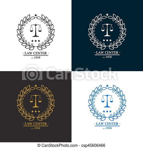 Firma de abogados, oficina, diseño de logo central - csp45606466