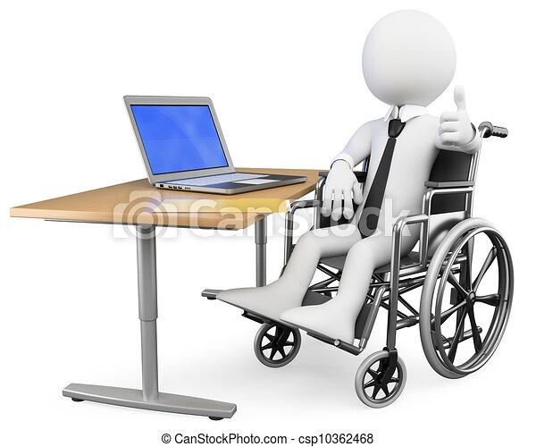Hombre blanco de negocios en 3D. Trabajador de oficina discapacitado - csp10362468