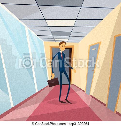 Hombre de negocios parado cerca de la oficina de la puerta - csp31399264