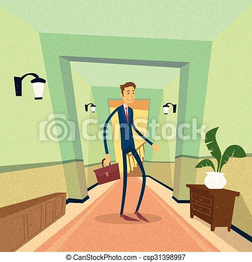 Hombre de negocios parado cerca de la oficina de la puerta - csp31398997