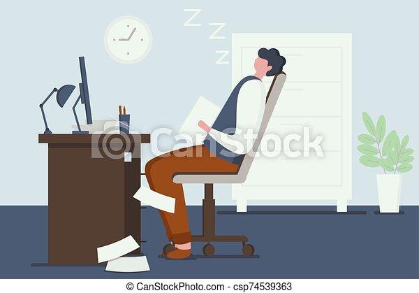 oficina., style., cansado, empleado, sueño, oficina, el suyo, trabajador, plano, workplace. - csp74539363