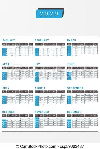 Ano 2020 Calendario.Oficina Vertical 2020 Ano Diseno Calendario