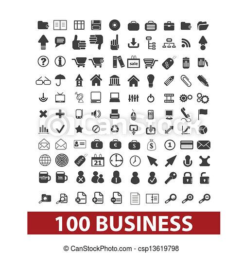 100 iconos de negocios y oficinas, signos fijados, vector - csp13619798