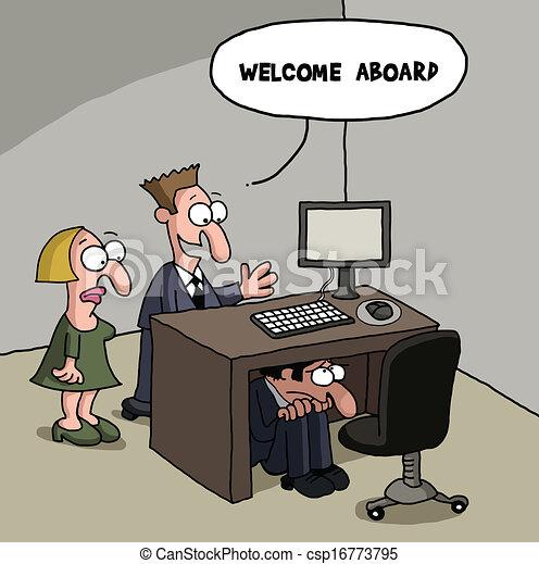 Nuevo chiste de dibujos animados de un trabajador de oficina - csp16773795