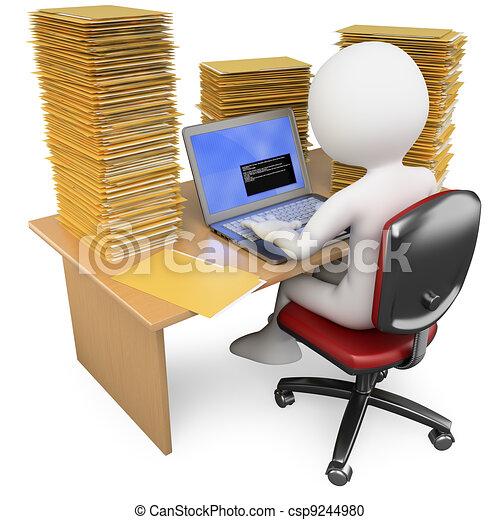 Empleado 3D trabajando en la oficina con mucho que hacer - csp9244980