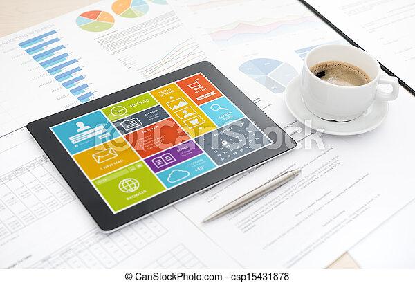 ofiice, bureau, moderne, tablette, numérique - csp15431878