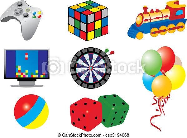 og, legetøj, idræt, iconerne - csp3194068