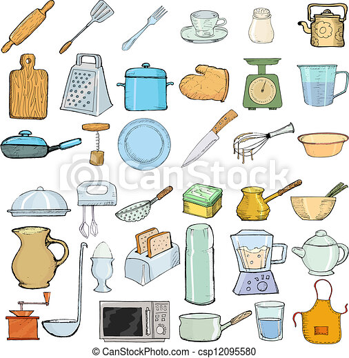 Oggetti, cucina. Set, oggetti, illustrazione, mano, vettore ...