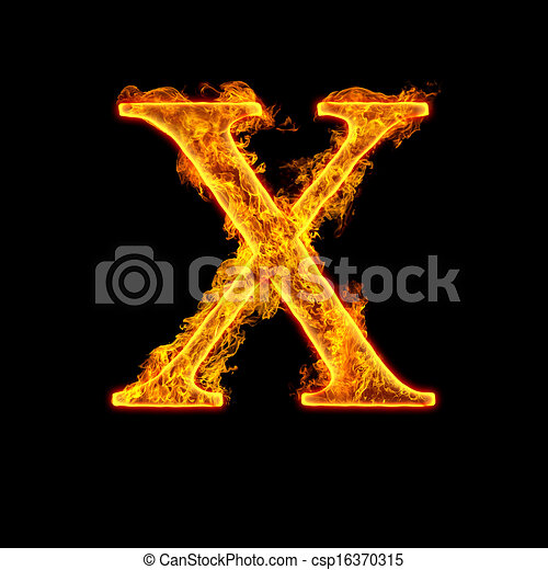 Ogień Abecadło Litera X Ogień Alfabet Odizolowany Tło