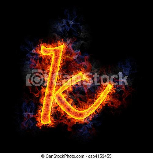Ognisty Litera K Płonący K Ognisty Litera Pismo Chrzcielnica