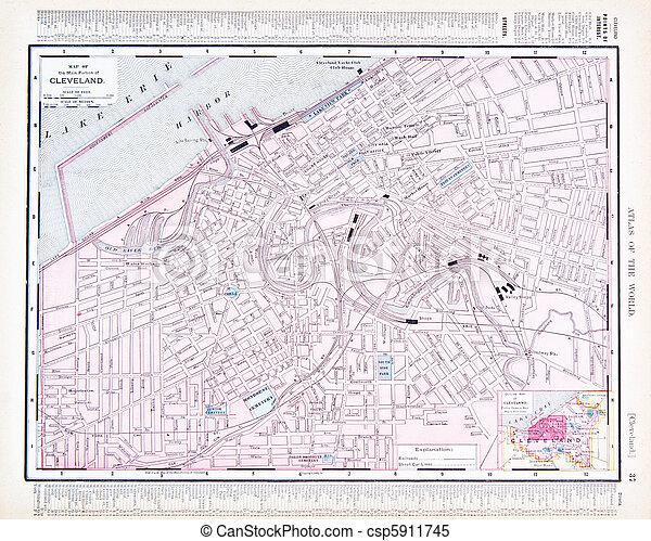 oh, città, stati uniti, mappa, colorare, strada, cleveland, ohio - csp5911745