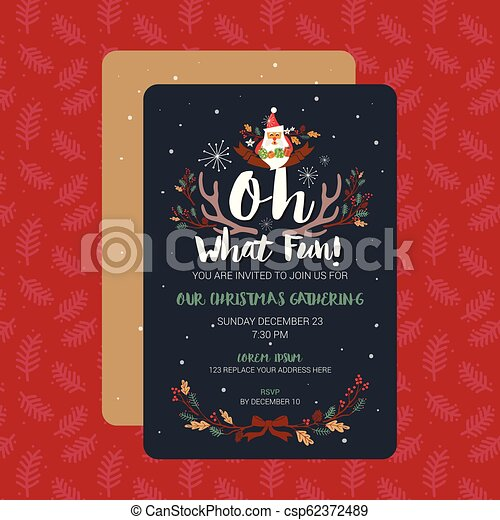Oh What Fun Christmas Party Invitation Card Template