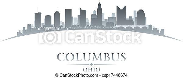 ohio, columbus, hintergrund, skyline, stadt, silhouette, weißes - csp17448674