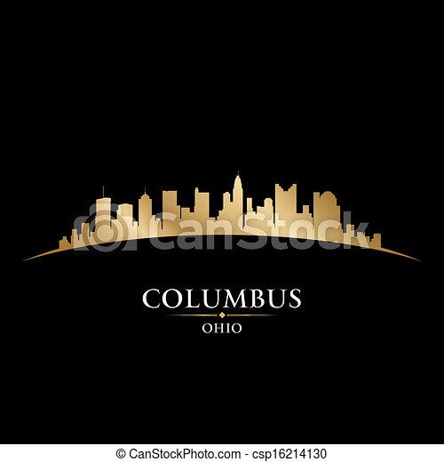 ohio, columbus, schwarzer hintergrund, skyline, stadt, silhouette - csp16214130