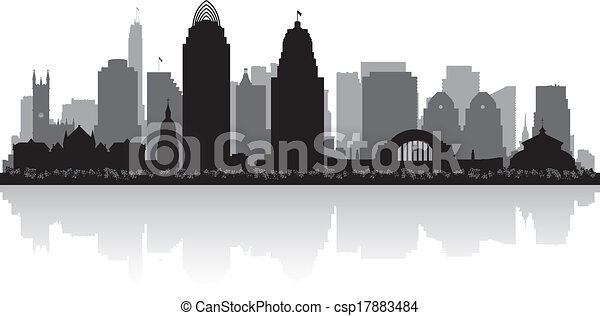 Cincinnati Ohio City Skyline Silhouette - csp17883484