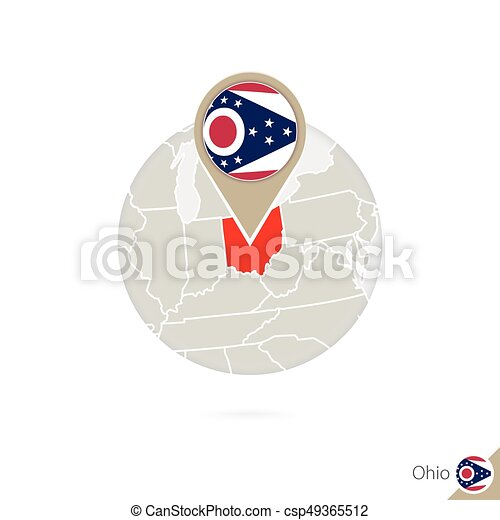 Ohio US State Map And Flag In Circle Map Of Ohio Ohio Flag - Us state flag map