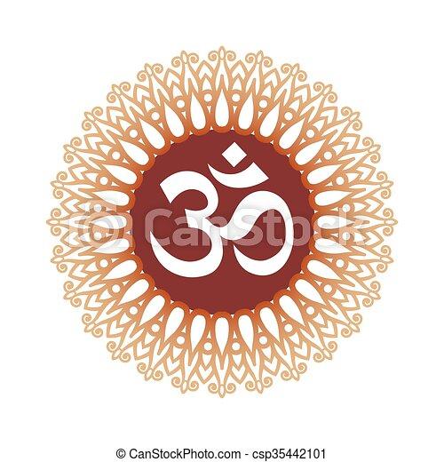 Ohm Sign Om Symbol Aum Sign With Decorative Indian Ornament Mandala