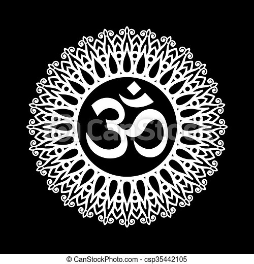 Ohm Sign Om Symbol Aum Sign With Decorative Indian Ornament