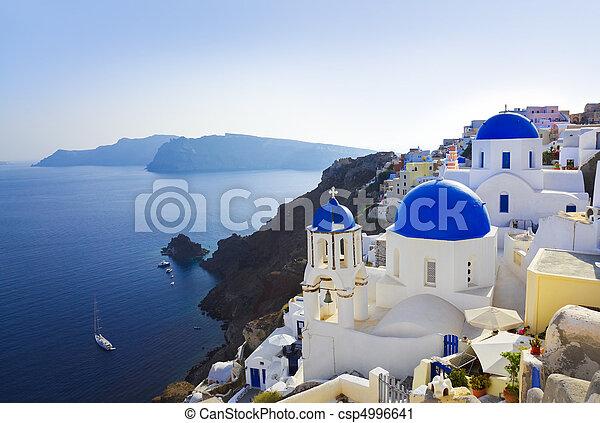 (oia), templom, santorini, görögország - csp4996641
