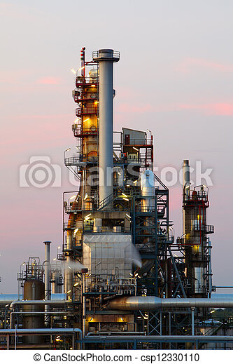 Oil and gas industry - refinery at twilight - factory - petrochemical plant - csp12330110