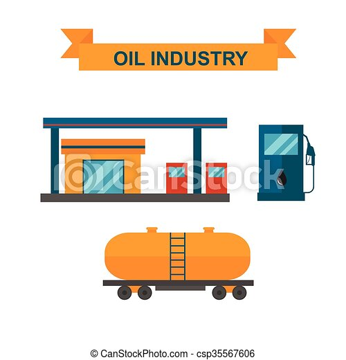 Oil and gasoline producing slots industry vector. - csp35567606