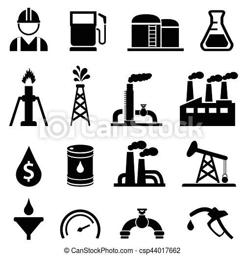 Oil and petroleum icon set - csp44017662