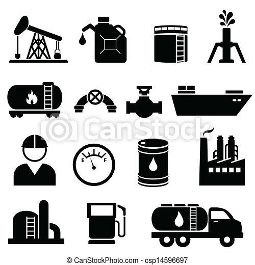 Oil and petroleum icon set - csp14596697