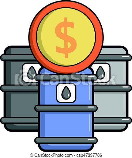Oil barrels with dollar sign icon, cartoon style