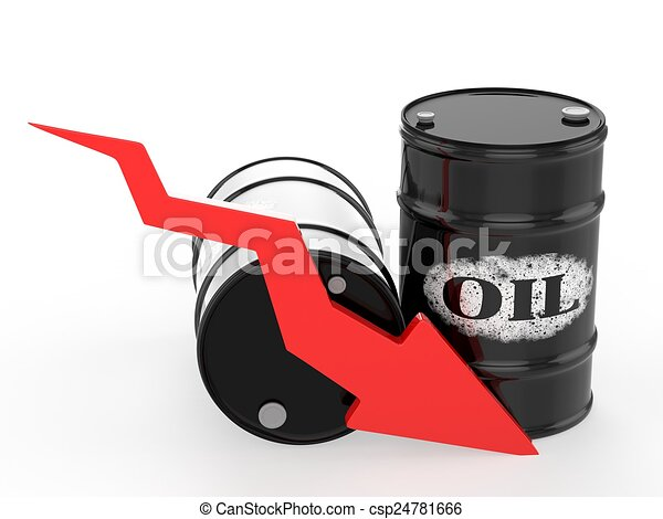 Oil Barrels with Red Arrow down. Financial crisis - csp24781666