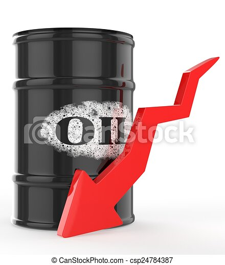 Oil Barrels with Red Arrow down. Financial crisis - csp24784387