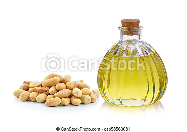 Oil bottle and peanuts on white background - csp58560081