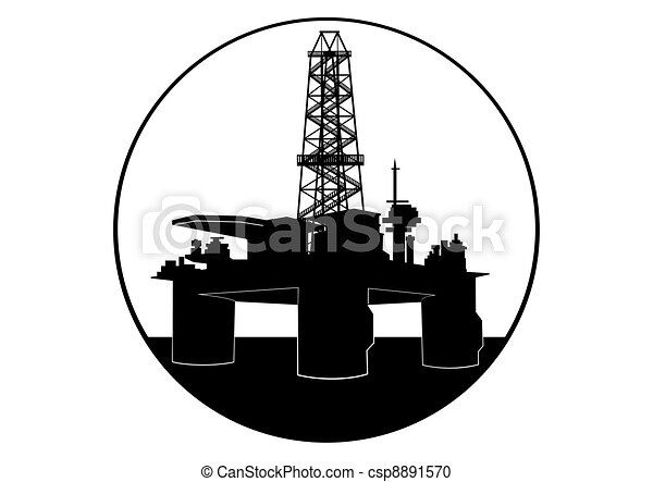 Oil Drilling Rig Oil Industry Black And White Illustration