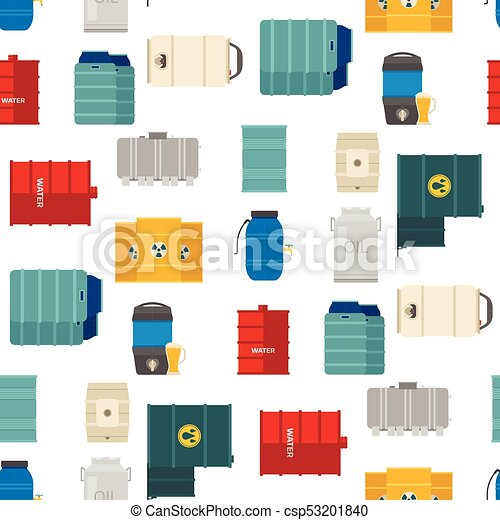 Oil drums container fuel cask storage rows steel barrels capacity tanks natural metal bowels seamless pattern background vessel vector illustration - csp53201840