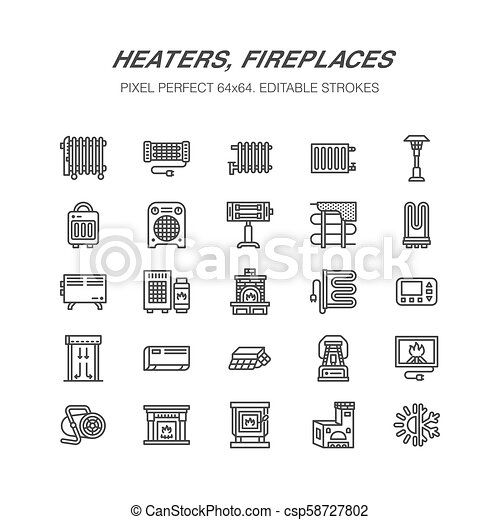 Oil heater, fireplace, convector, panel column radiator and other house heating appliances line icons. Home warming thin linear pictogram. Equipment store signs. Pixel perfect 64x64 - csp58727802