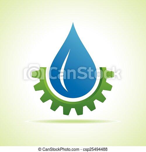 Oil Industry Drop Symbol With Gear Symbol Stock Vector