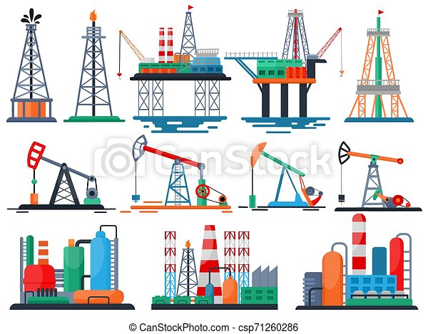 Oil industry vector oily products oiled technology producing drilling fuel pump illustration set of industrial equipment crane isolated on white background - csp71260286