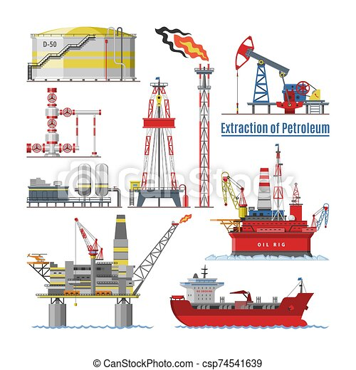Oil industry vector oily products oiled technology producing drilling fuel petrol petroleum pump oil-rig illustration set of industrial equipment crane ship isolated on white background - csp74541639