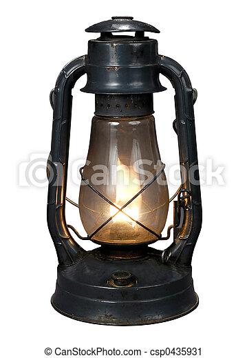 Oil Lamp Lit Antique Over White Background